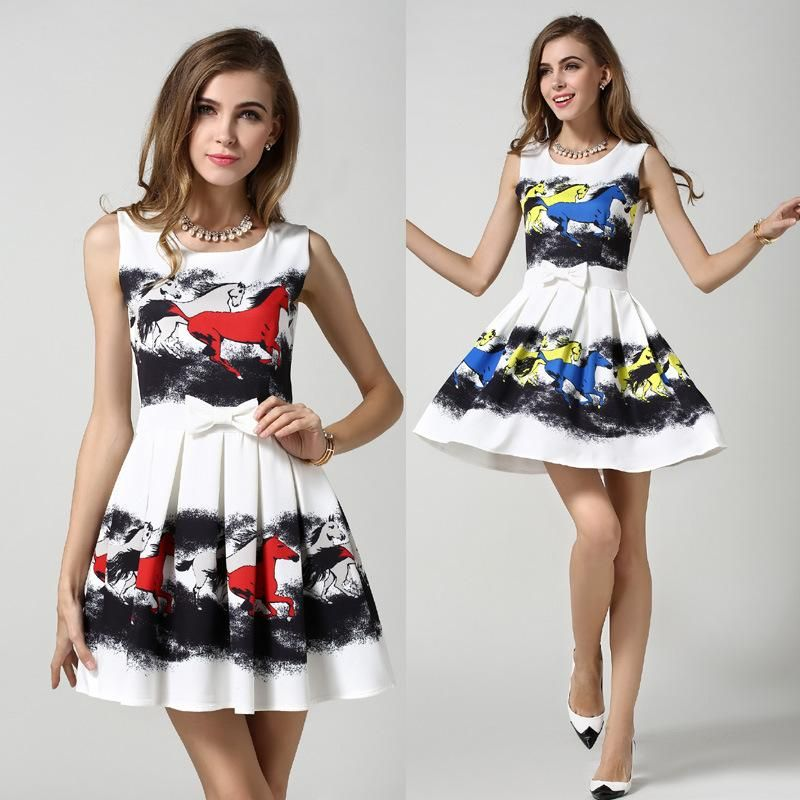 Women Horse Print Ruffles Dresses Slim Party Dresses Bow Sleeveless Design European Fashion Casual Dress High Quality Online with $21.2/Piece on Smartmart's Store | DHgate.com