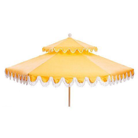 Daiana Two Tier Patio Umbrella, Light Yellow/White $539.00