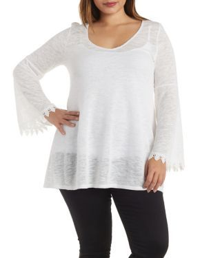 Plus Size Bell Sleeve Tunic Top with Crochet Trim