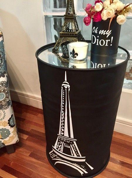 Tonel Espelhado Torre Eiffel Tonel Decoração Local Em