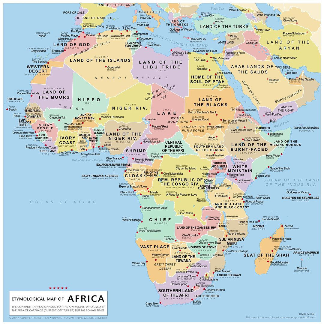 Etymological Map of Africa, made by R M B  Virble  (Swipe for close