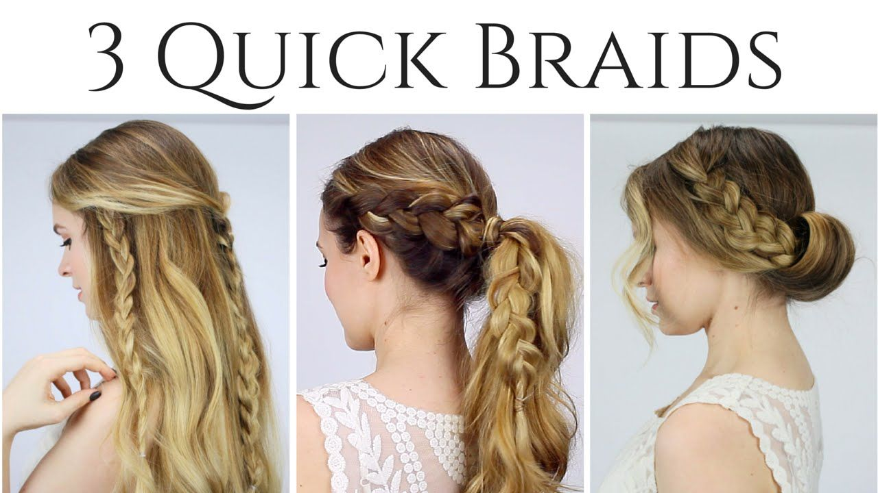 3 quick braided hairstyles updo