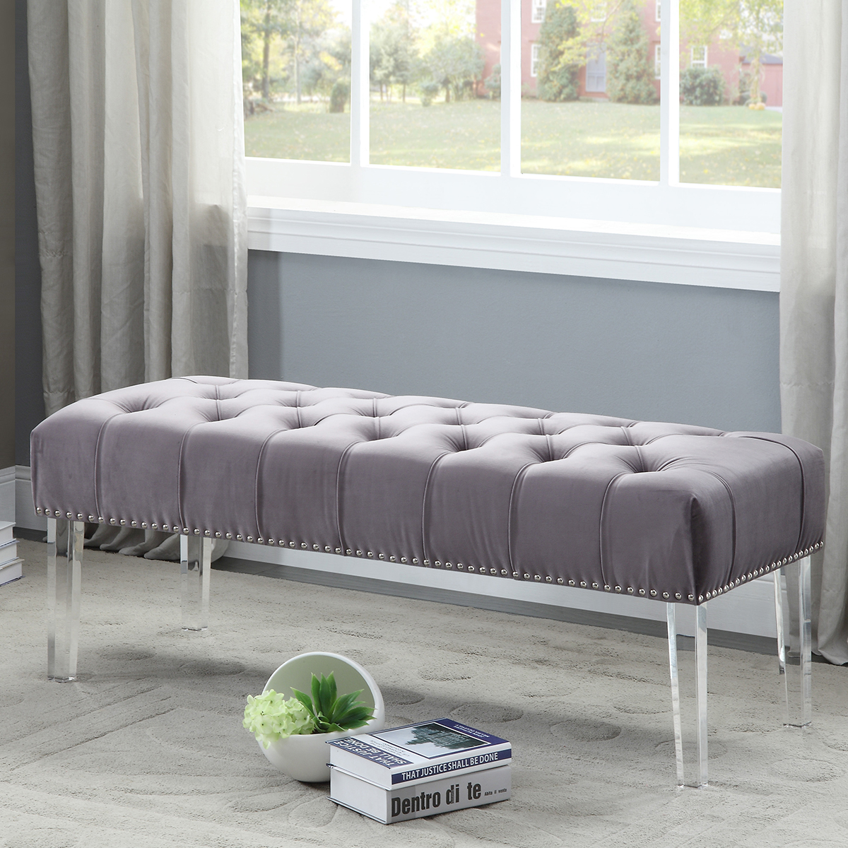 Magnificent Meridian Celine Grey Tufted Velvet Bench Nailhead Trim On Pdpeps Interior Chair Design Pdpepsorg
