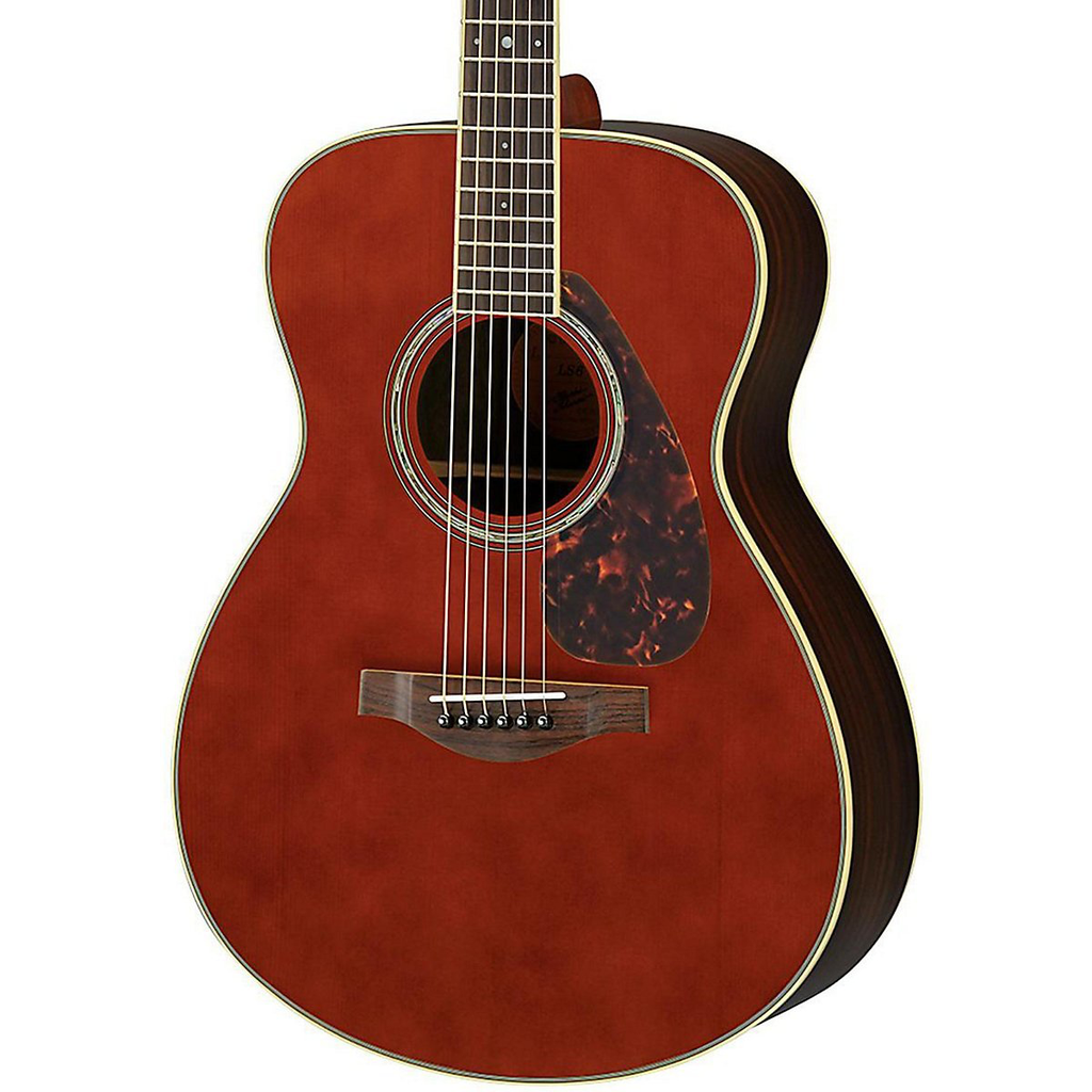 Yamaha Ls6r L Series Rosewood Small Body Acoustic Guitar With Passive Pickup With Case Dark Tinted Guitar Leather Guitar Straps Acoustic Guitar