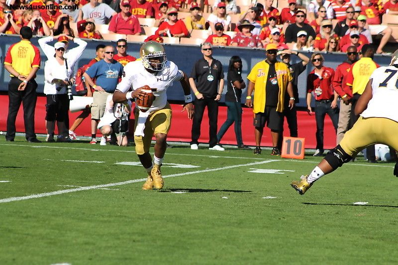Hard day at the office for Notre Dame quarterback Everett