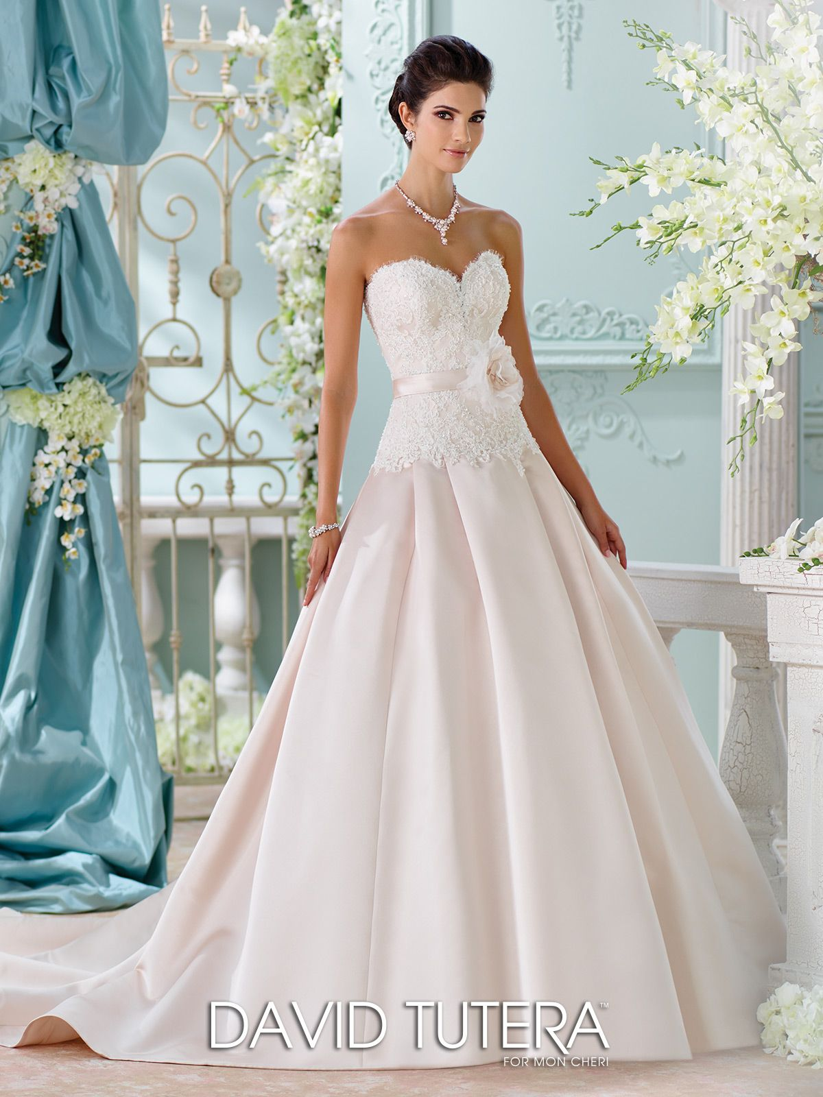 Champagne Satin Hand Beaded Lace Wedding Dress 116215 Lucienne