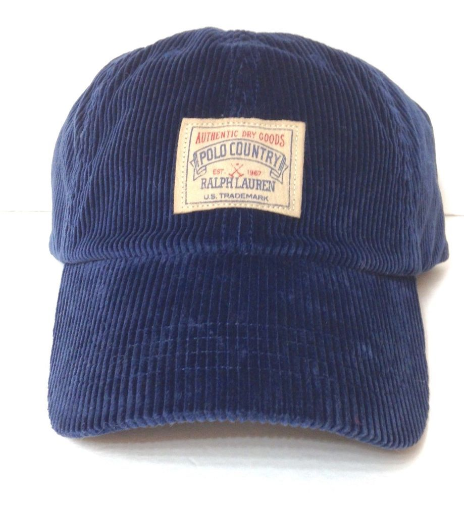 2f08ce07f New$49 POLO COUNTRY RALPH LAUREN HAT Navy Blue CORDUROY Dad Relaxed ...