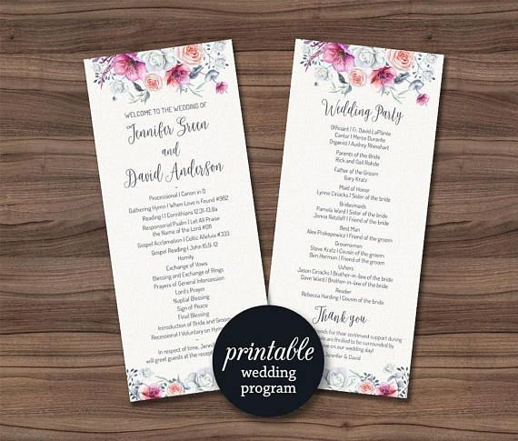 Items Similar To Printable Wedding Program Fl Cards Ceremony Schedule Decor On