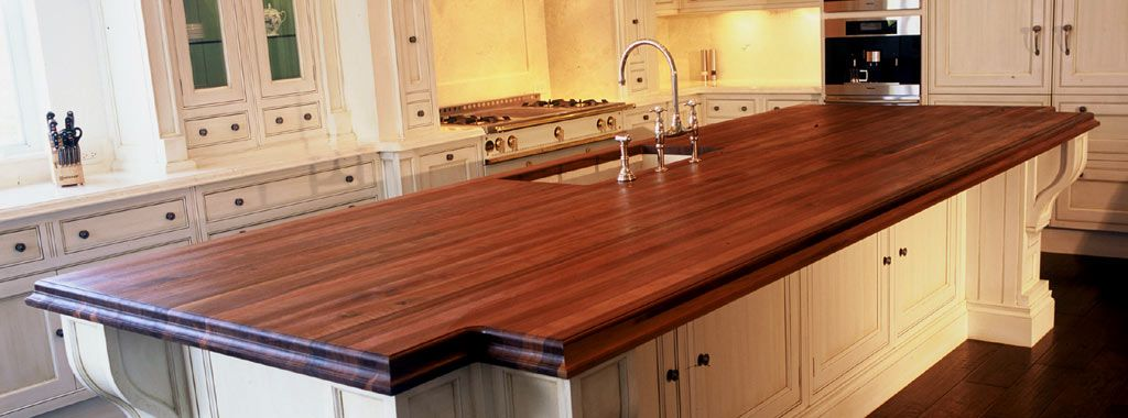 White Kitchen Island With Walnut Butcher Block Countertop : Custom Wood Countertops Bar Top Butcher block countertops, Wood countertops, Walnut kitchen