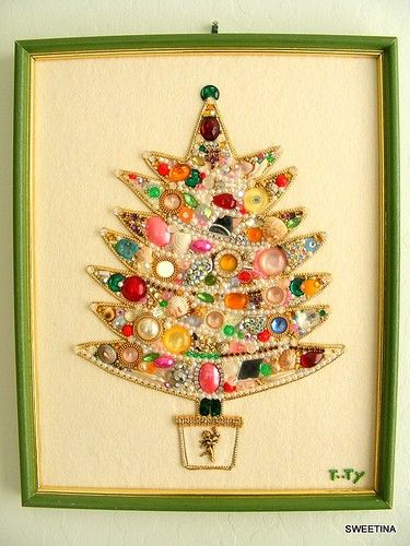 what a neat idea for christmas crafting framed art made from shiny sparkly baubles and such