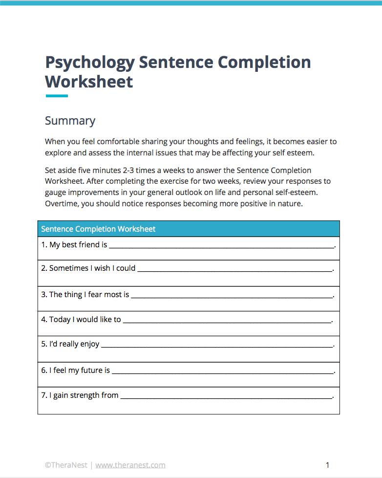 Sentence Completion Worksheet | Self Esteem Worksheets | Pinterest ...