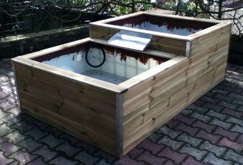 Bassins hors-sol 600l+400l avec cascade ! jardin Pinterest
