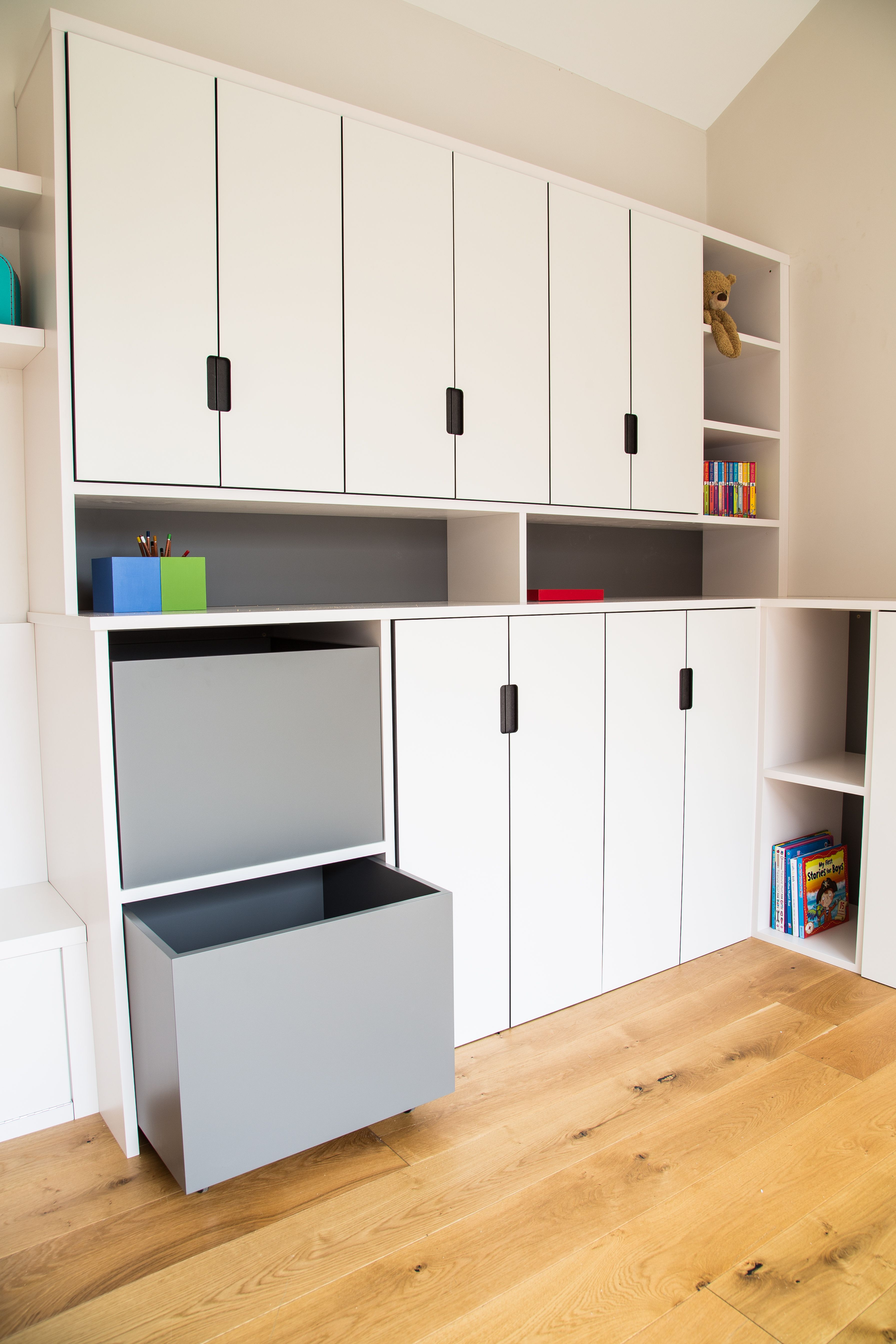 Bespoke Kids Playroom With Toy Boxes Open Shelving Cupboards And Seating Painted In F B Strong Kids Playroom Furniture Cupboard Storage Playroom Furniture