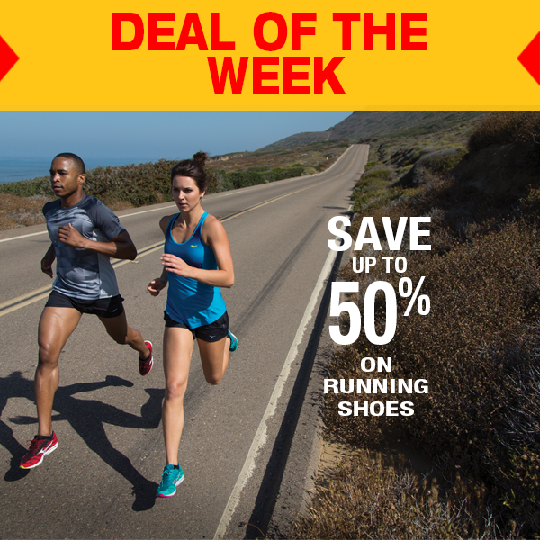 * DEAL OF THE WEEK * Save up to 50% online only on running shoes from top brands like ASICS, Brooks Running, Mizuno Running and Saucony till Saturday!
