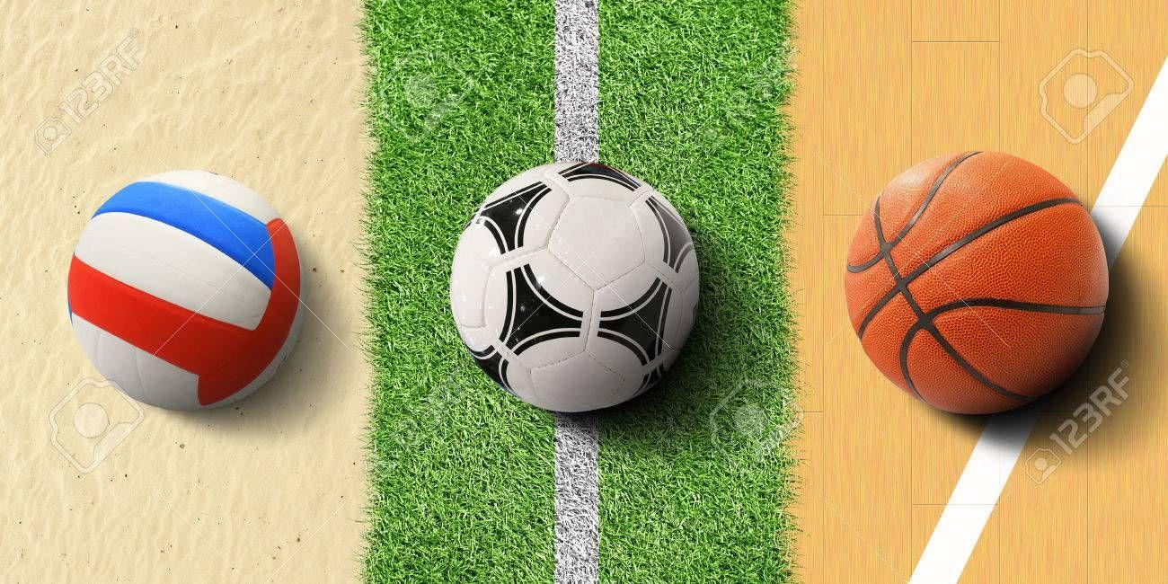 Sports Balls Soccer Ball On Grass Basketball And Volleyball Ad Soccer Balls Sports Ball Volleyball Soccer Ball Sports Balls Soccer