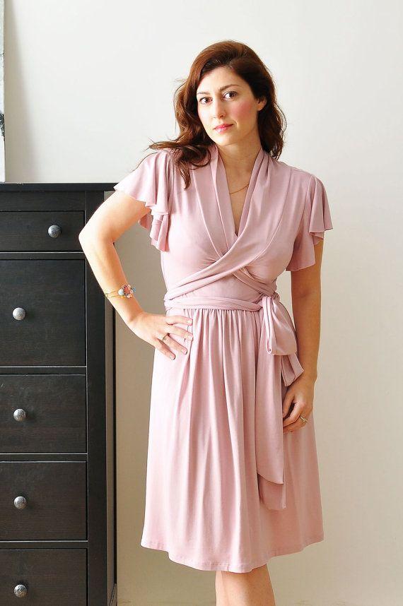 Jersey Wrap Dress, Casual Day Dress, Light Pink Dress , Bridesmaid ...