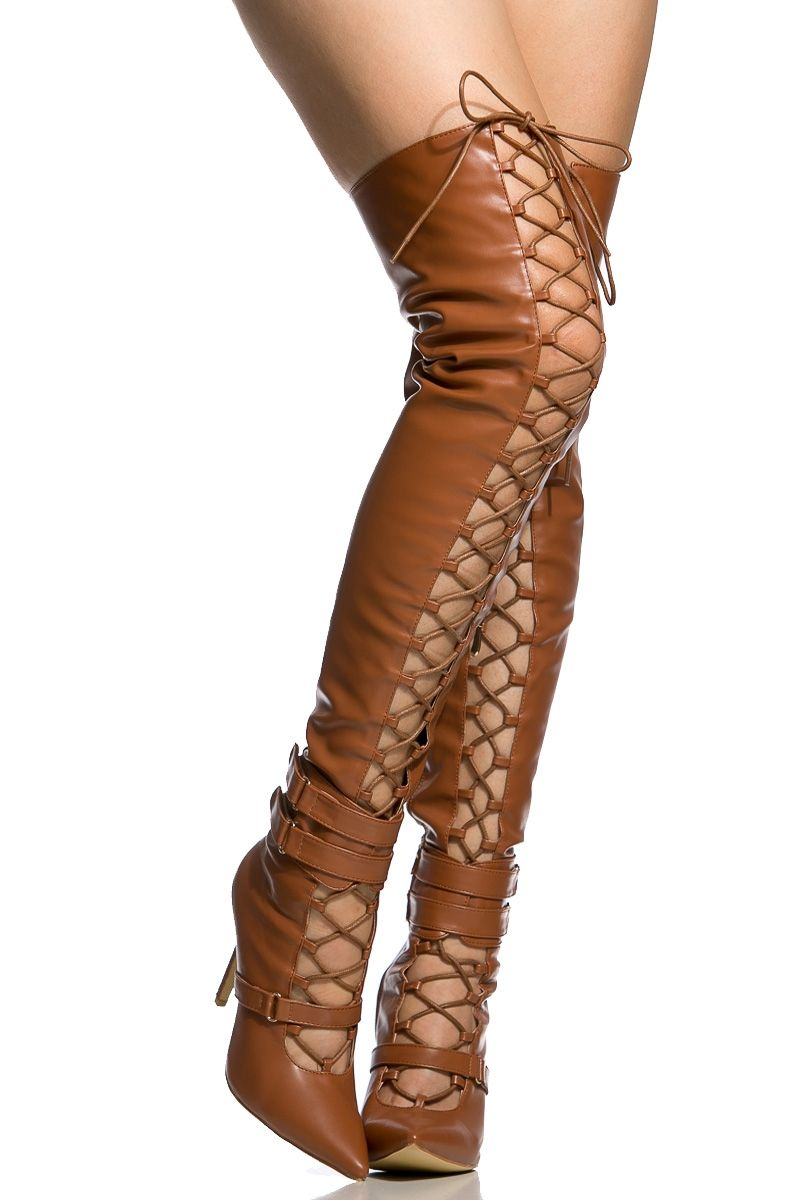 2cbde4771f66 Camel Faux Leather Lace Up Pointed Toe Thigh High Boots @ Cicihot Boots  Catalog:women's