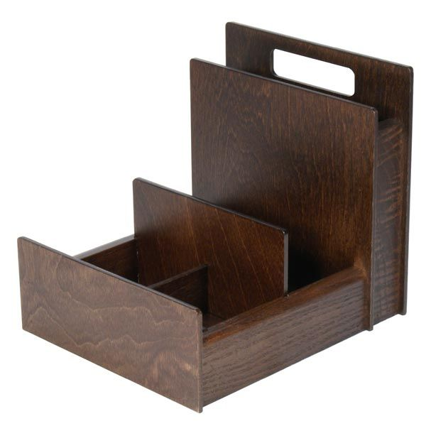 Wooden Condiment Holder With Cutlery Section H Con301