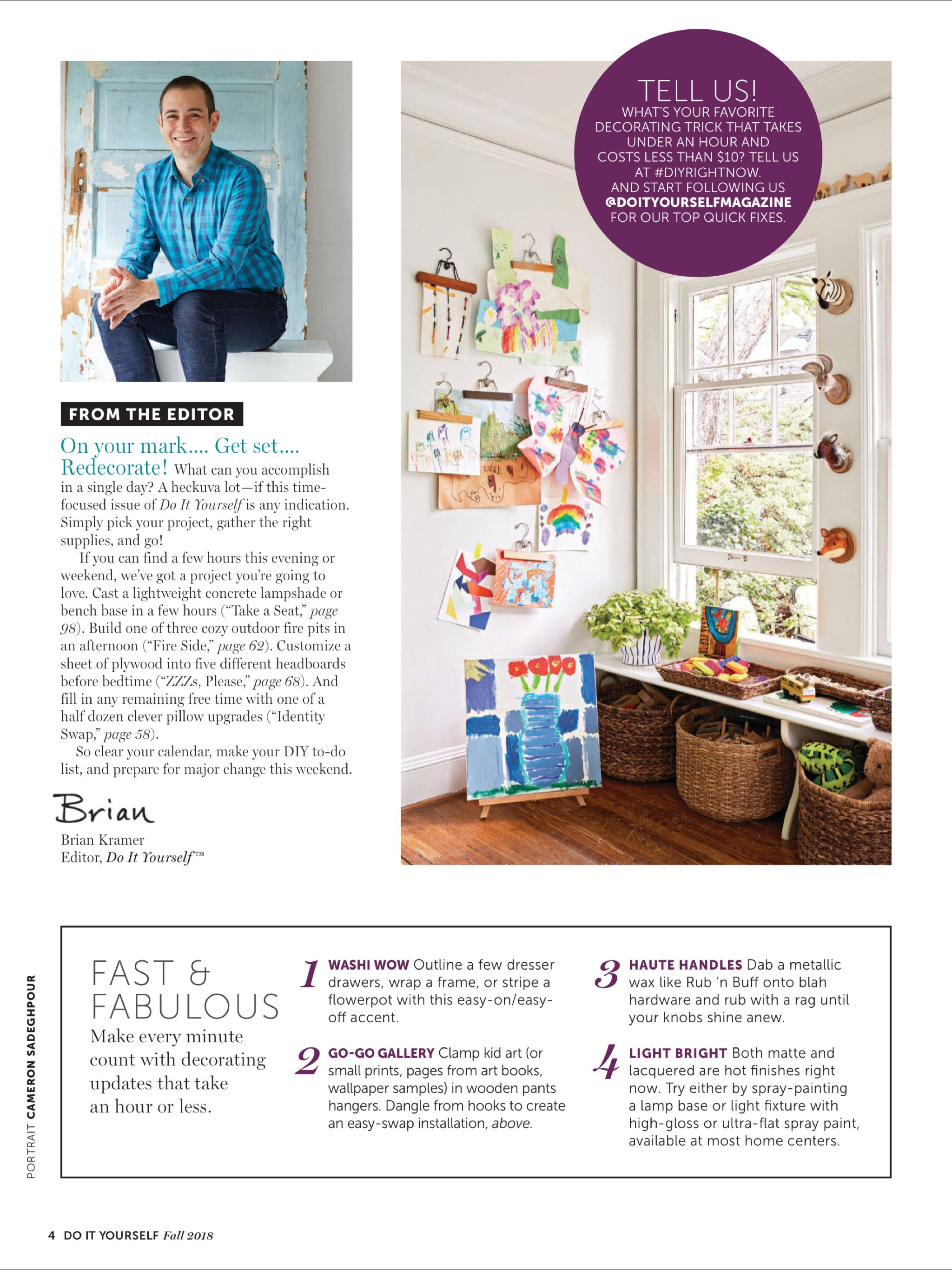 """""""Editor's Letter"""" from DoItYourself Magazine, Fall 2018"""