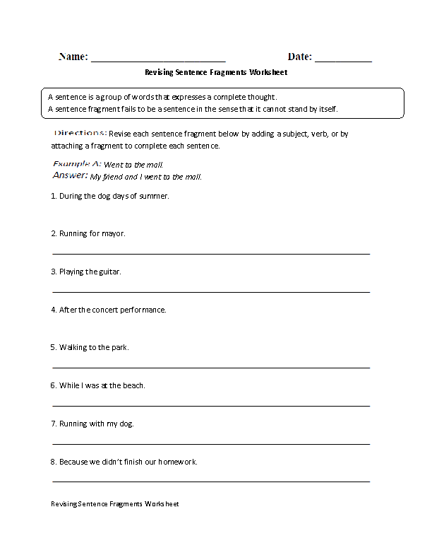revising sentence fragment worksheet