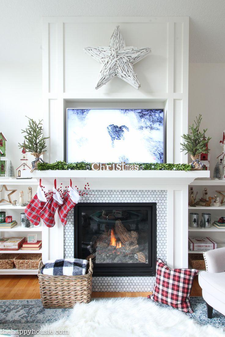 Classic Red & White Christmas Mantel Decor | Christmas mantel decor ...