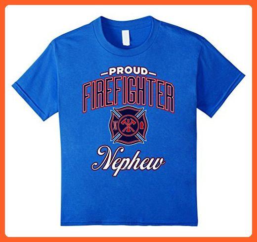 Kids Proud Firefighter Nephew T-Shirt  6 Royal Blue - Careers professions shirts (*Partner-Link)