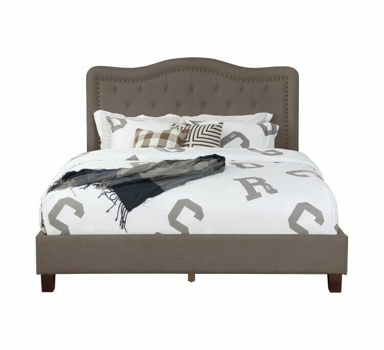 Details About Queen Bed Brown Panel Bedframe Upholstered Headboard