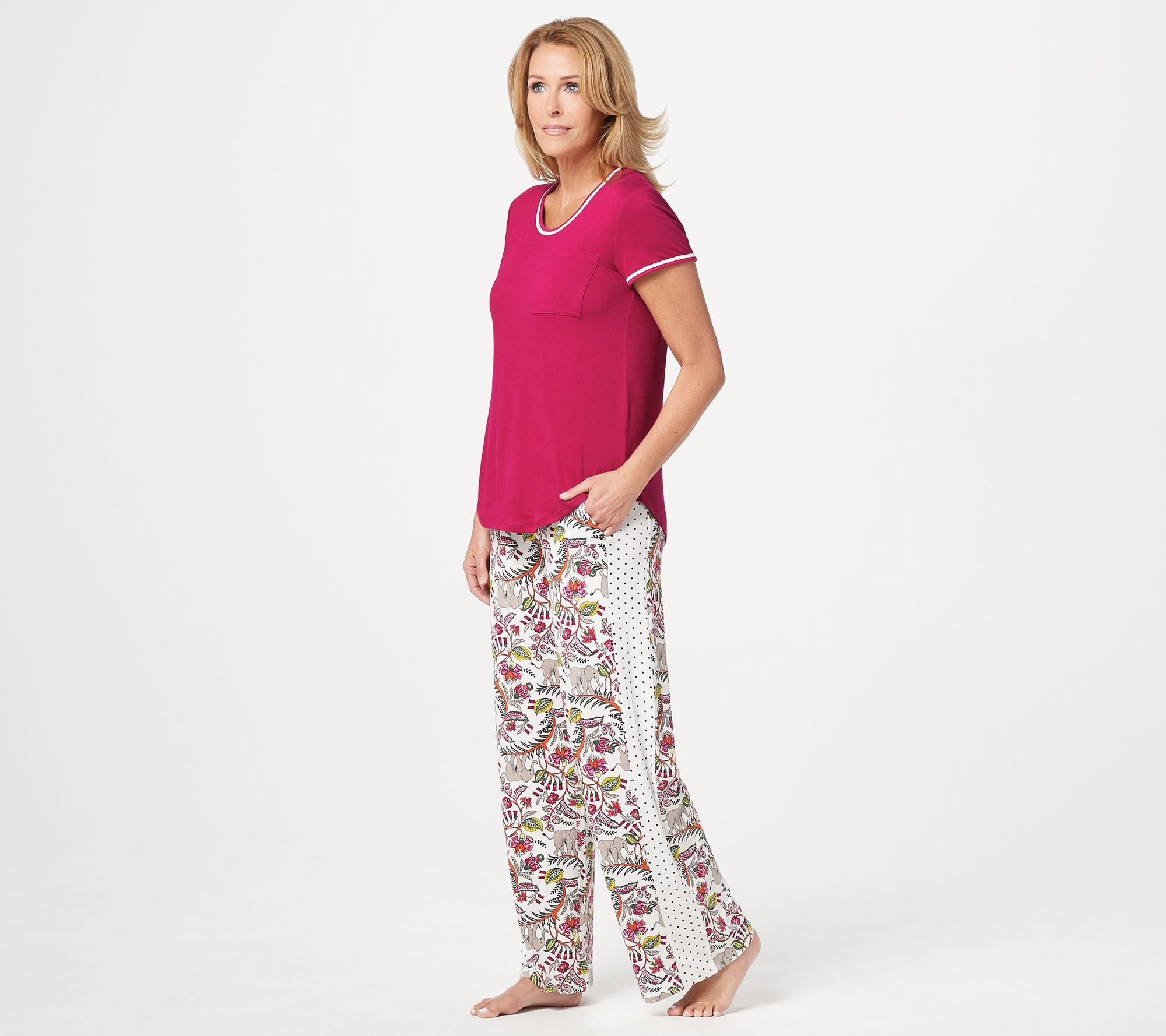 Cuddl Duds Cool Airy Jersey Color Block Print Pajama Set Qvc