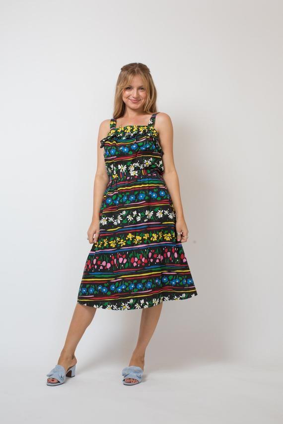 28a189117481 On sale FLORAL print dress BLACK floral dress 80s SUNDRESS 80s summer dress  colorful 80s dress elast