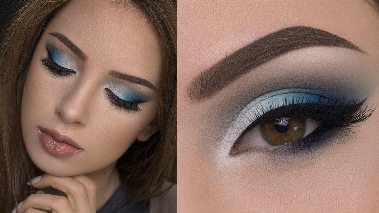 soft blue smokey eye makeup tutorial - youtube | blue eye