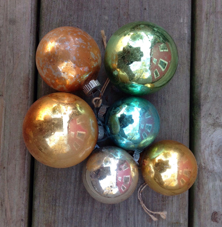 Vintage christmas tree ornaments - Set Of 6 Vintage Shiny Bright Ornaments Vintage Christmas Tree Ornaments Vintage Shiny Brights Retro Christmas Mercury Glass Ornaments