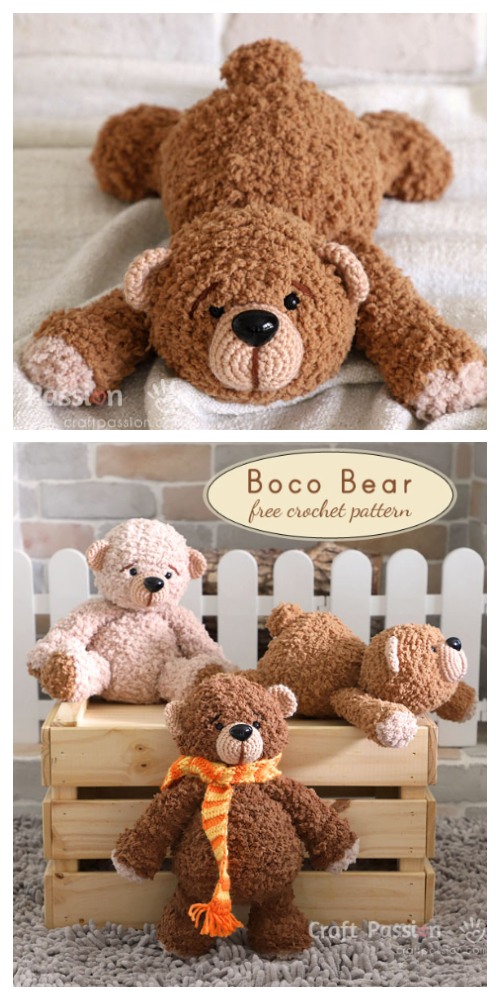 Crochet Lying Bear Amigurumi Free Patterns - DIY Magazine