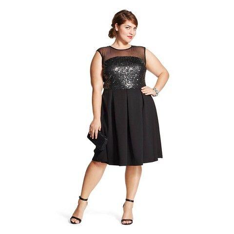 Womens Plus Size Sleeveless Sequin Mesh Social Dress Studio 1