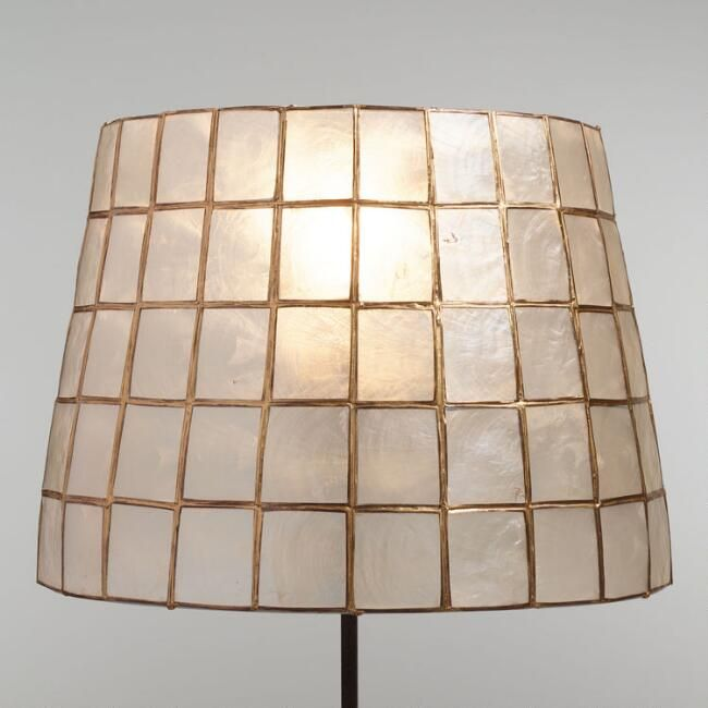 Our Exclusive Tapered Table Lamp Shade Is Handmade By Artisans In The Philippines Of Natural Capiz Shel Wall Lamp Shades Antique Lamp Shades Rustic Lamp Shades