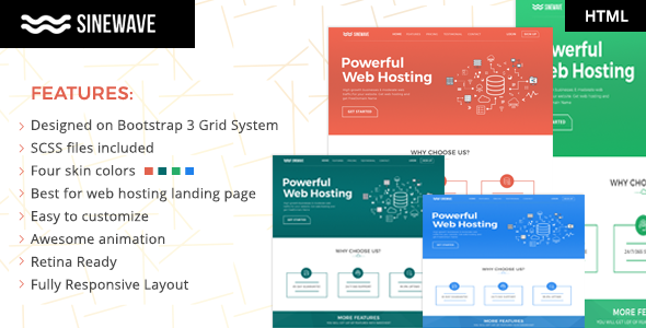 Sinewave - One Page Hosting Landing Page HTML Template