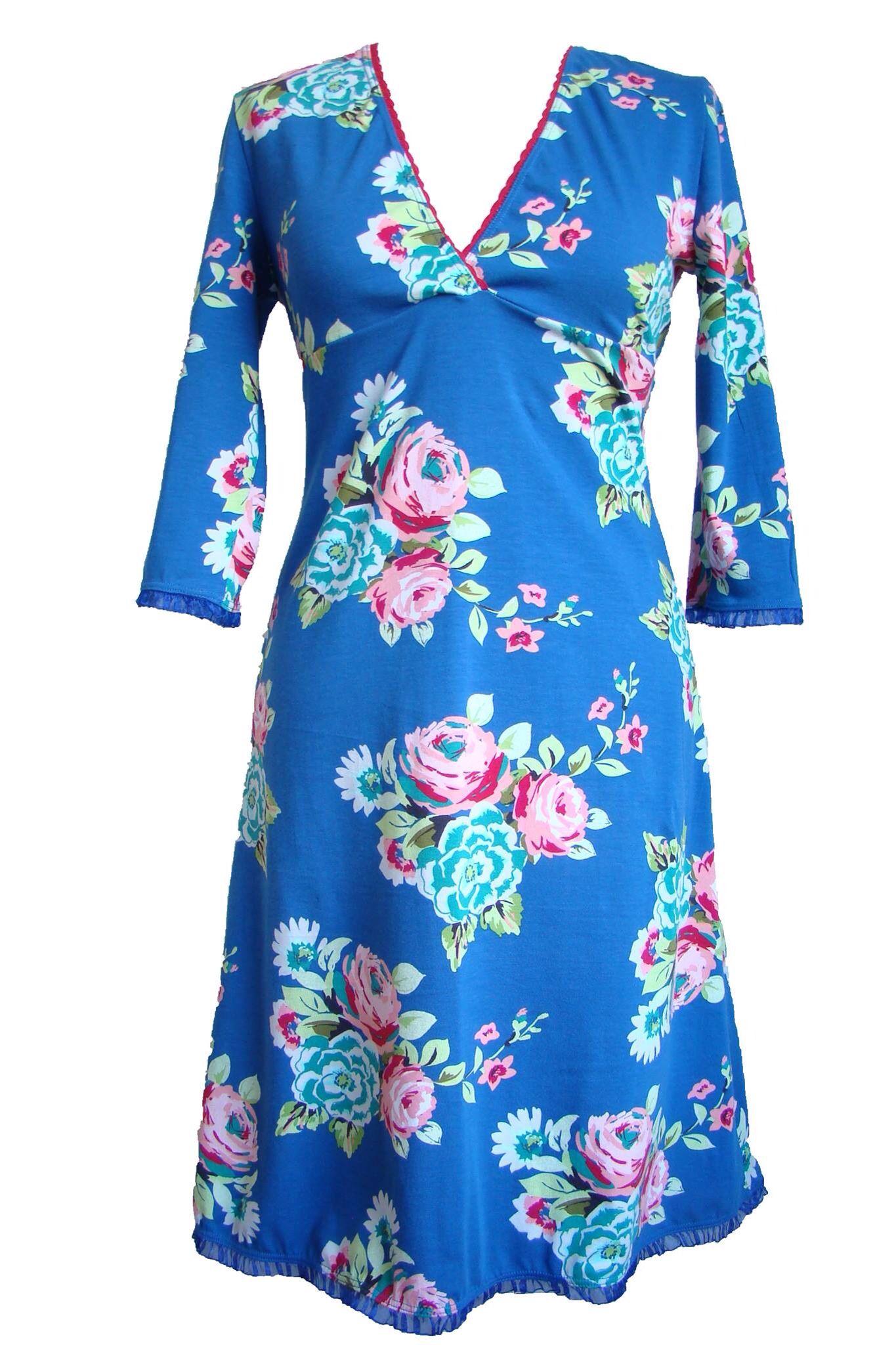 Blauwe Bloemen jurk van Pinka via pinka.nl   handgemaakt