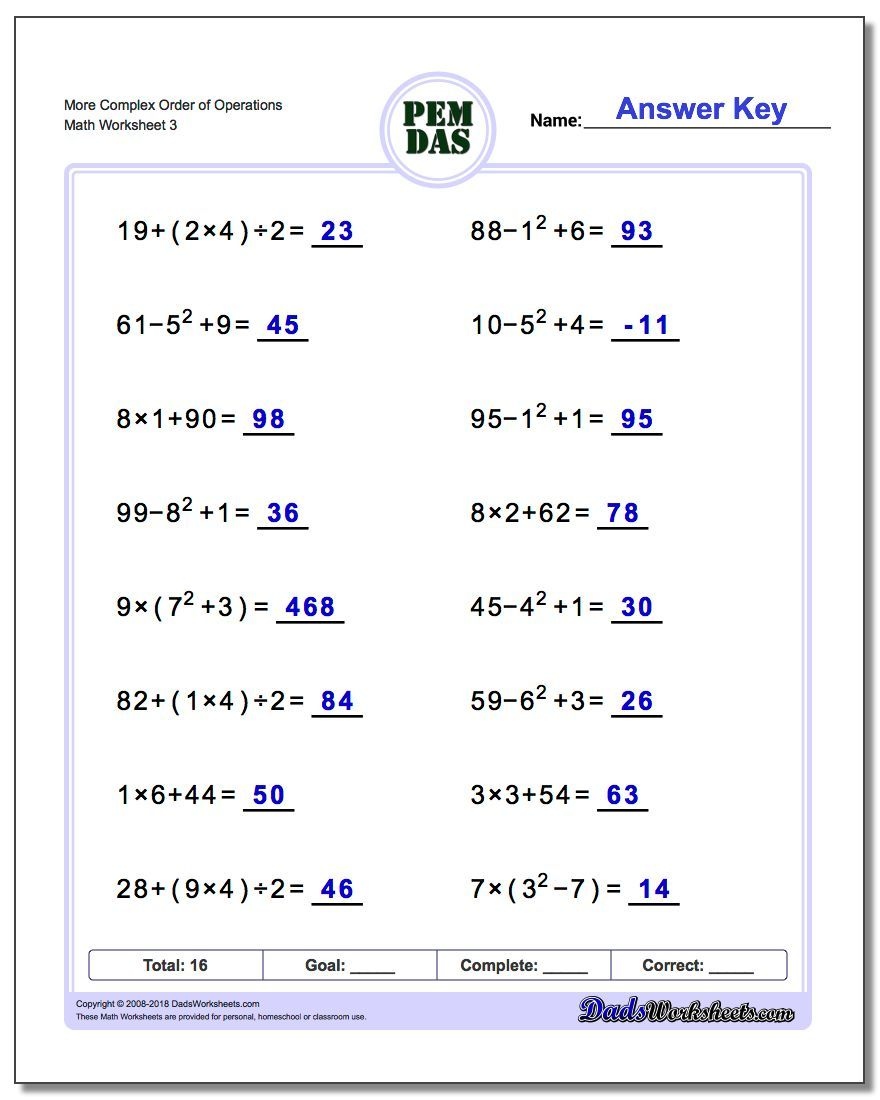 More Complex Order of Operations Worksheets. Many many ...