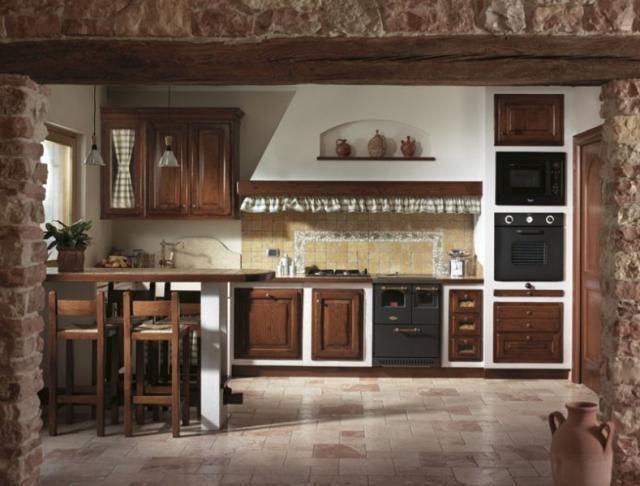 Cucina in muratura e finta muratura artigianale in legno massello di castagno e casa home - Modelli di cucina in muratura ...