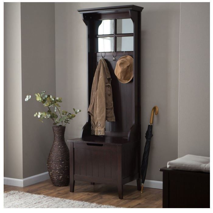 Brown Entryway Mini Hall Tree Coat Rack Stand Home Furniture Decor Storage Bench Hall Tree Hall Tree With Mirror Entryway Hall Tree