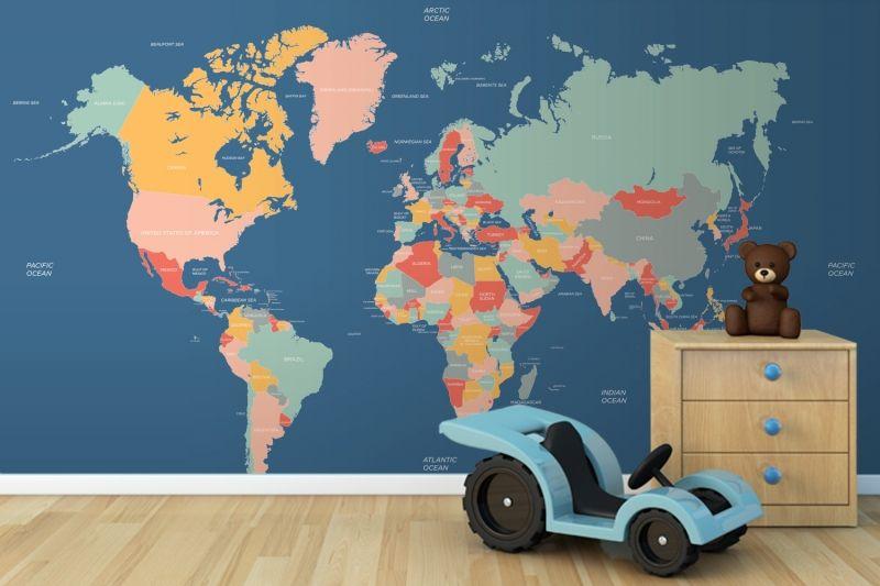 Navigator World Map Mural MuralsWallpapercouk Room - World map boys room
