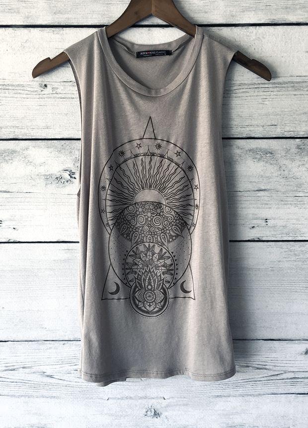 61a7699028 La Luna The Moon, Sun, Yoga Tank Top Shirt | Design ideas in 2019 ...