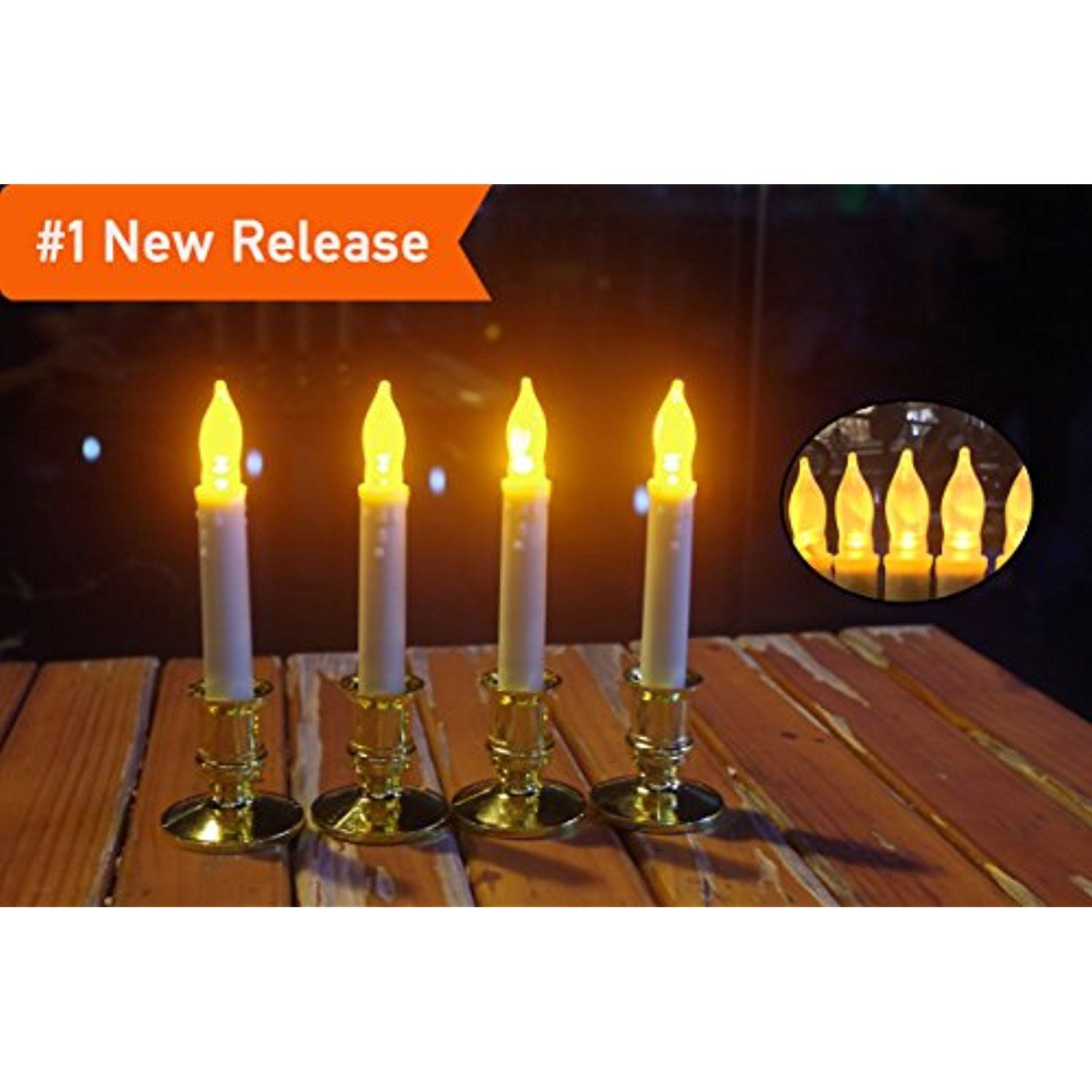 Led Flameless Taper Candles Battery Operated With Timer