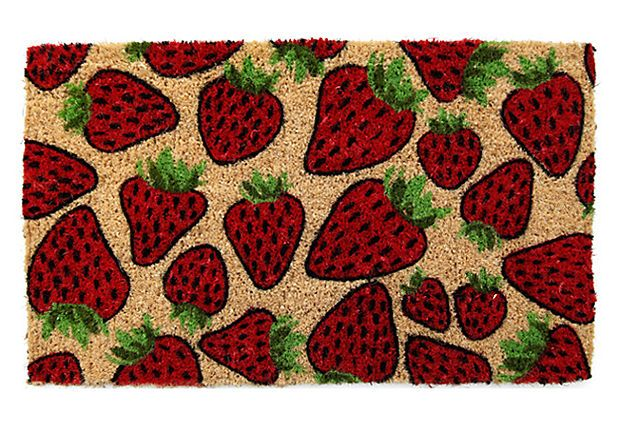 "1'6""x2'6"" Strawberry Coir Mat, Red/Green on OneKingsLane"