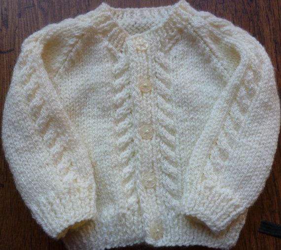 02b020849 Traditional Hand knitted Cream Newborn Cabled Baby Round Neck ...