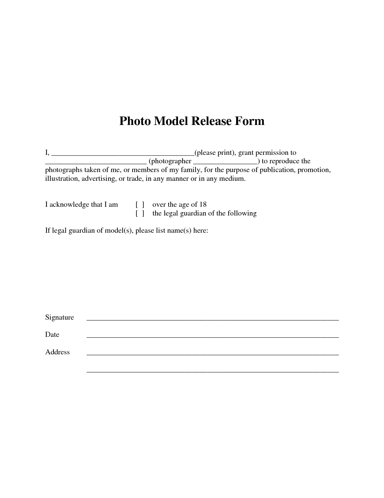 Free photographer release form photo model release form for Standard model release form template