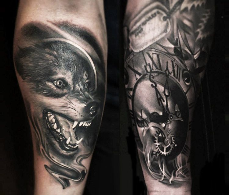 Wolf Woman Tattoo By Sergey Shanko: 20 Best Time Tattoos Design For Men And Women
