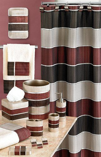 Modern Line Burgundy 6x6 Shower Curtain Burgundy Bathroom