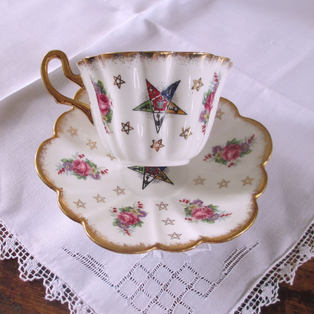 Eastern Star Cup & Saucer Roses By Royal Stuart from vermontvintage on Ruby Lane