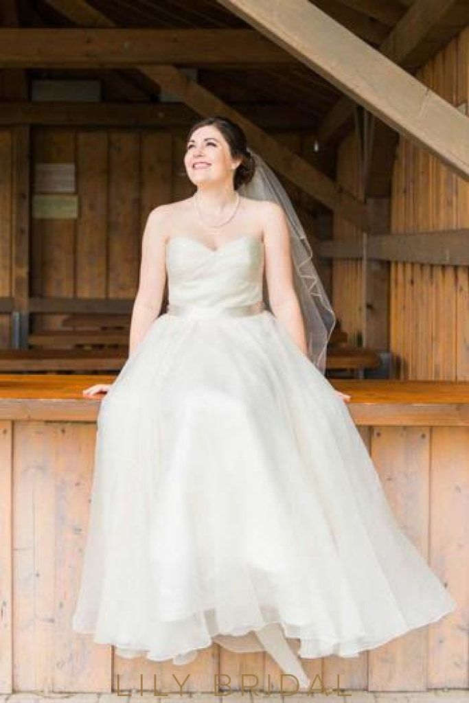 Ivory Organza Strapless Sweetheart Floor Length Plus Size ...