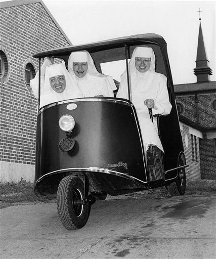 What a NUN CART!  Nuns Having Fun 1961 My disabled Aunt Dolores use to drive one of these